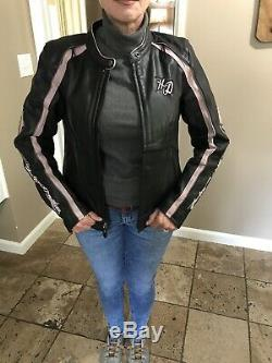 Harley Davidson Pink City Lights Leather Jacket Women Medium