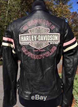 Harley Davidson Pink Fall Miss Enthusiast Leather Jacket Women's Small
