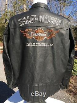 Harley Davidson RIDE READY Leather Jacket Men's 2XL Black Flames