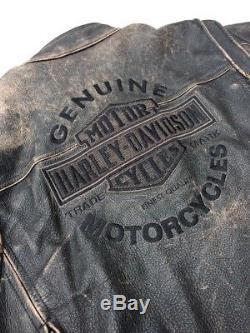 Harley Davidson ROADWAY Brown Leather Jacket Men Large Distressed Bar & Shield