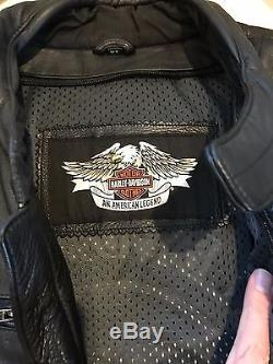 Harley Davidson Reflective Willie G Skull Leather Jacket Mens Size XL 98099-07VM