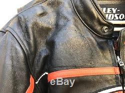 Harley Davidson Screamin' Eagle Leather Motorcycle Jacket Men's Size Large RARE