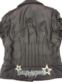 Harley Davidson Star Studded Black Leather Jacket Women's 1W