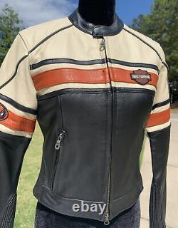 Harley Davidson Torque Leather Jacket Women's XS Black Cream Racing
