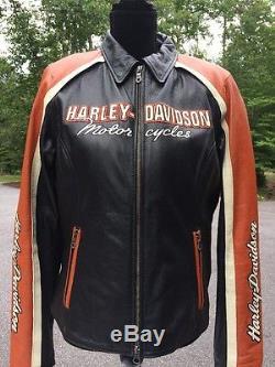 Harley Davidson Vintage Cruiser Leather Jacket Women's Large 98120-08vw Orange