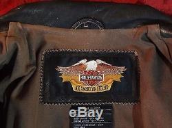 Harley Davidson Vintage Road King Brown Leather Jacket Men's Size Large