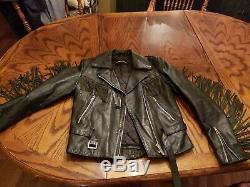 Harley Davidson Vintage Womens fringed black leather jacket size small