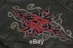 Harley Davidson Women BARCHETTA Leather Jacket Reflective Tribal 2XL 97169-10VW