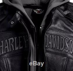 Harley Davidson Women Reflective Willie G Skull Leather Jacket 3in1 98152-09VW L