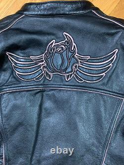 Harley Davidson Women's BLOSSOM Black Leather Jacket Pink Rose 97002-10VW Sz XL