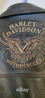 Harley-Davidson Women's Black Leather HD Motorcycle Riding Jacket Size XL XXL