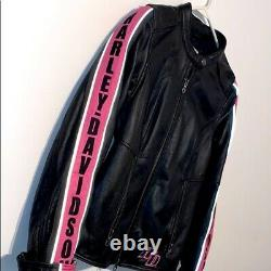 Harley Davidson Women's Black Pink Leather Riding Jacket Size Small