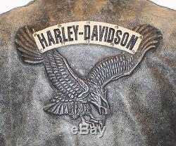 Harley Davidson Women's Corral Distressed Leather Studded Eagle Jacket Laces L