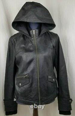 Harley Davidson Women's FRENZY Hooded Black Leather Jacket 97091-12VW Size Large
