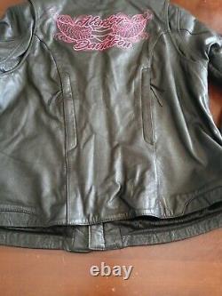 Harley Davidson Women's Leather Riding Pink Wings Jacket XL