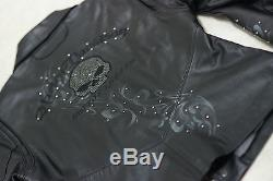 Harley Davidson Women's WICKED Swarovski Skull Black Leather Jacket 97123-09VW S