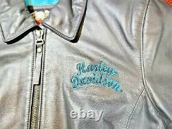 Harley Davidson Womens ARABELLE Black Leather Jacket Turquoise Eagle Medium