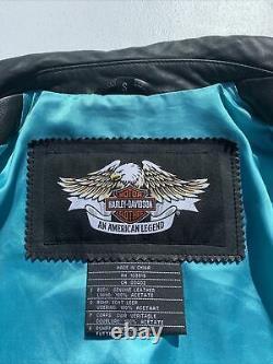 Harley Davidson Womens ARABELLE Black Leather Jacket Turquoise Eagle Small