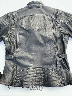 Harley Davidson Womens BRAVA Convertible Distressed Leather Jacket Vest 2W