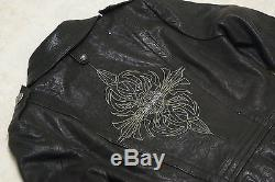 Harley Davidson Womens Black Deluxe Blazer Leather Jacket Military XL 97104-09VW