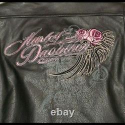 Harley-Davidson Womens Black PINK ROSES BLING Leather Riding Jacket Medium