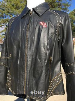 Harley Davidson Womens DAKOTA Studded Leather Jacket 1W