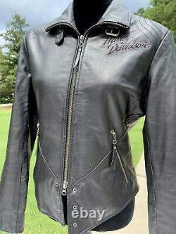 Harley-Davidson Womens ISIS Eagle Black Leather Jacket Medium MINT