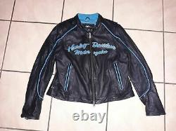 Harley Davidson Womens Leather Black Teal Riding Jacket Large