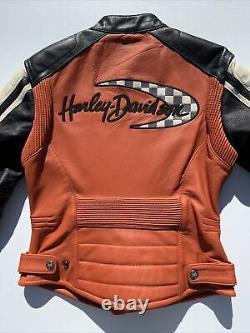 Harley Davidson Womens Leather Jacket Small Orange Black Racing