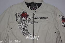 Harley Davidson Womens PACIFIC COAST Rose White Leather Jacket 97012-10VW S Rare