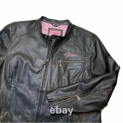 Harley-Davidson Womens Pink Label Jacket Black Zip Pockets Leather Plus 2W 22-24