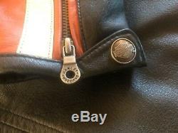 Harley Davidson Womens VINTAGE CRUISER Leather Jacket Medium Orange with Liner