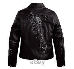 Harley Davidson Womens WICKED Swarovski Skull Black Leather Jacket 97123-09VW XL