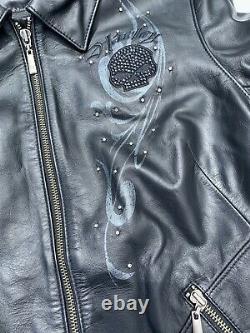 Harley Davidson Womens WICKED Willie G Swarovski Skull Medium Leather Jacket