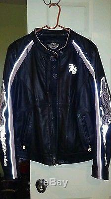 Harley davidson womens Pink City Lights leather jacket XL