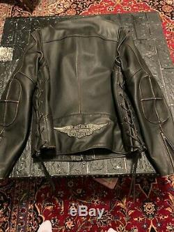 Harley distress leather Jacket-Vest detachable sleeves men xl used two time
