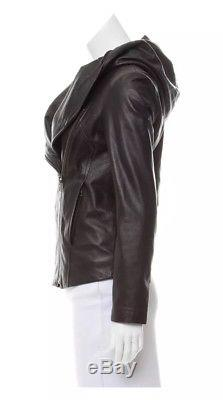 Helmut Lang Leather Jacket Hooded Chic Zipper Black Small