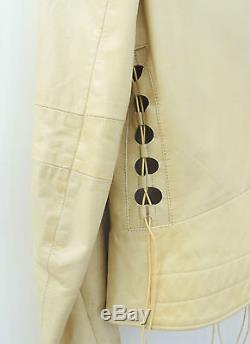 Helmut lang 2001 Calf leather lace up motor biker jacket Beige original