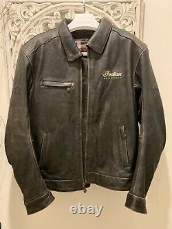 INDIAN MOTORCYCLE CLASSIC DARK BROWN LEATHER JACKET With ARMOR Size Large