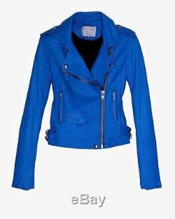 IRO Ashville Moto Leather Jacket in Cobalt Blue 0 XS