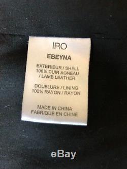 IRO Ebeyna Black Leather Moto Jacket Size 36 Small RETAIL $1346