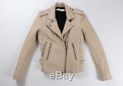 IRO Han Leather Jacket Beige Nude Biker Moto EU 36 $1295