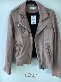 IRO Han Moto Leather Jacket Blush Pink Gray FR 36 / US 2 or 4