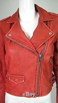 IRO Intermix Women's Ashville Red 100% Lamb Leather Motorcycle Jacket Size 42/10