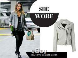 IRO'Jova' Sueded Suede Leather Moto Jacket in Grey FR 36 / US 4