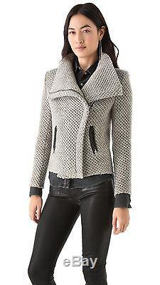 IRO Kristen Wool Honeycomb Leather Trim Moto Jacket 1 = Small S FR 36 / US 4