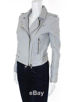 IRO Light Gray Leather Luiga Multi-Zipper Long Sleeve Motorcycle Jacket Sz IT 38