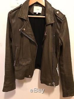 IRO Olive ASHVILLE Lamb Leather Moto Biker Jacket Coat Sz xs