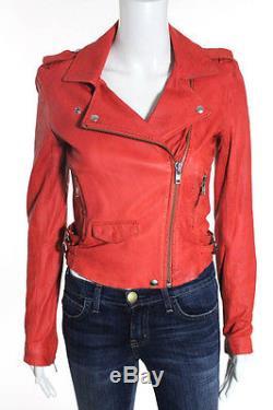 IRO Red Leather Long Sleeve Motorcycle Jacket Size 1