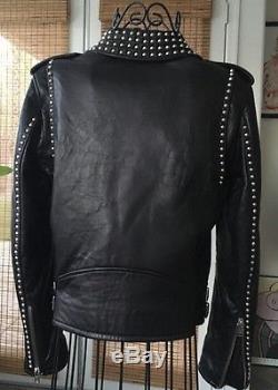 IRO Studded leather Jacket Black Sz 38 S/m Saint Laurent Style. Rock Chic